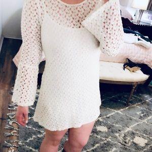 White knit, bell Sleeve dress